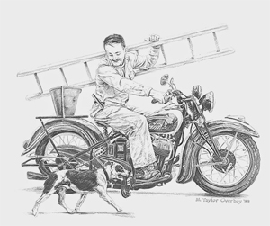 Ettore on his motorcycle in the beginning of his career